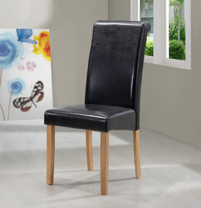 Marley PU Solid Rubberwood Dining Chair In Black or Brown (Set of 2) - VEHome