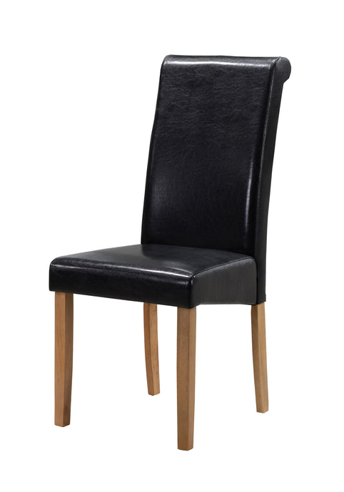 Marley PU Solid Rubberwood Dining Chair In Black or Brown (Set of 2)