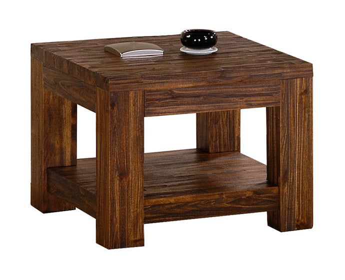 Martello Lamp Table Solid Acacia Wood Sandblasted Dark Brown Wood - VEHome