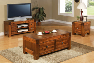 Monaco TV Unit Solid Acacia Wood 4 Drawers