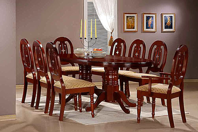 Moscow Solid Rubberwood Dining Table Set with 6 Side & 2 Arm Chairs Mahogany - VEHome