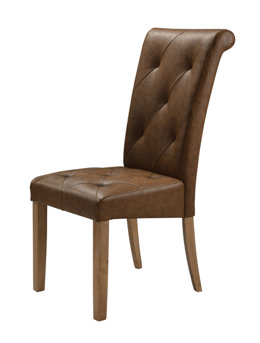 Nicole PU Solid Rubberwood Dining Chair Antique Brown (Set of 2) - VEHome