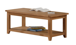 Stirling Coffee Table Solid Oak With Shelf - VEHome