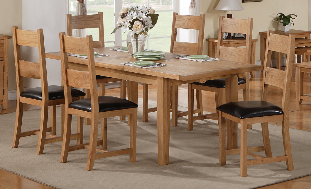 Stirling Dining Table Set Fixed 1400mm 6 Matching Chairs Available Solid Oak