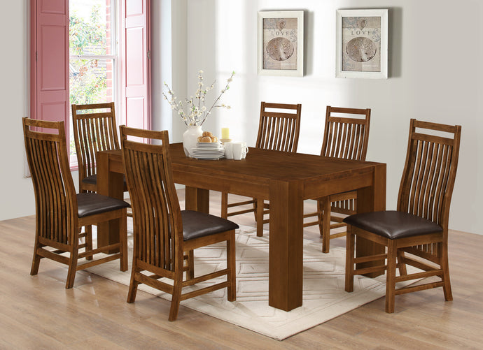 Yaxley Dining Table Set Solid Ruberwood with 6 Matching Chairs Rustic Oak