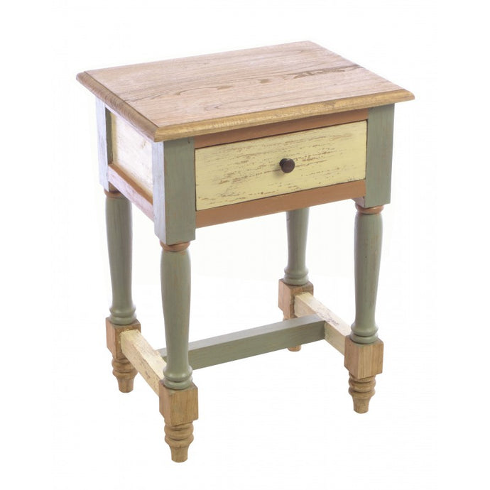 Abbey Painted Lamp Bedside Table Solid Mindi Wood 1 Drawer - VEHome
