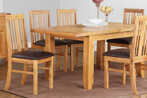 Large Acorn Solid Oak Extending Dining Table with 6 Chairs Available - VEHome