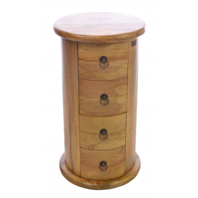 Country Drum Chest of Drawers Solid Mango Wood 4 Rounded Bedside Drawers