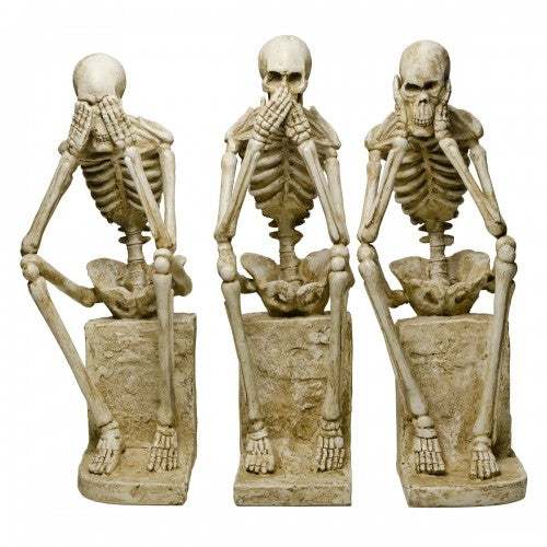 LARGE See No Evil, Speak No Evil, Hear No Evil Skeleton Statues Ornament LARGE - VEHome