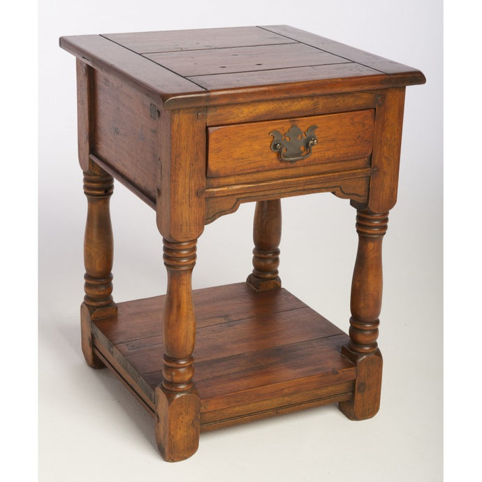 East Indies 1 Drawer Bedside Lamp Table Solid Mango Wood - VEHome