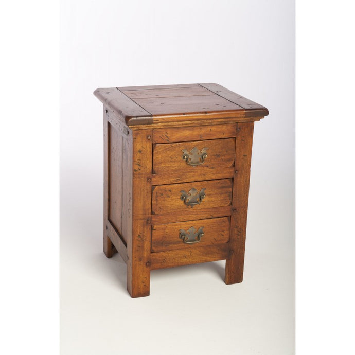 East Indies 3 Drawer Chest of Drawers Solid Mango Wood Bedside - VEHome
