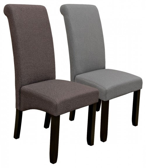 Scroll Back Fabric Dining Chair Available in Grey or Brown - VEHome