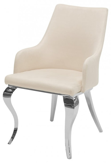 Caroline Dining Chair Faux Suede Velvet Cream - VEHome