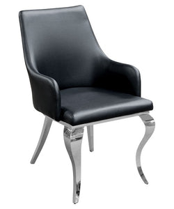 Caroline Black Dining Chair Faux leather - VEHome