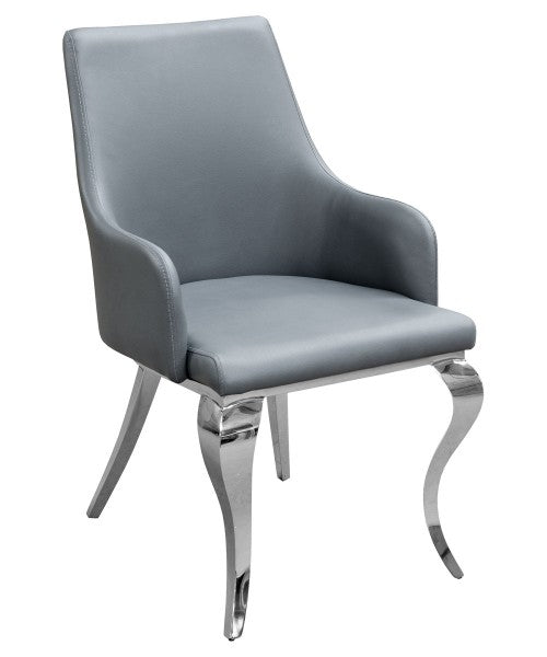 Caroline Grey Dining Chair Faux Leather - VEHome