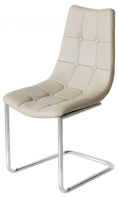 Menson Beige Dining Chair PU Leather On Chrome Frame - VEHome