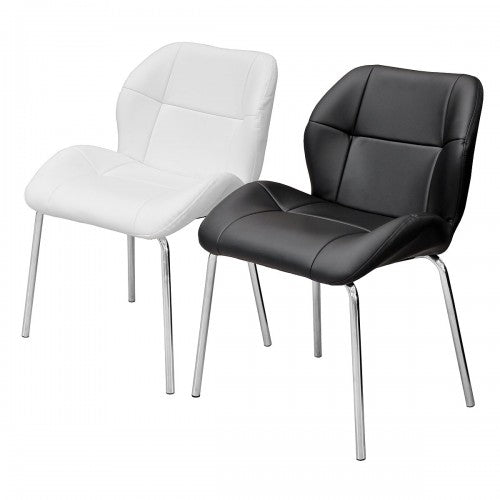PU Leather Dinky Bistro Chair In Black or White - VEHome