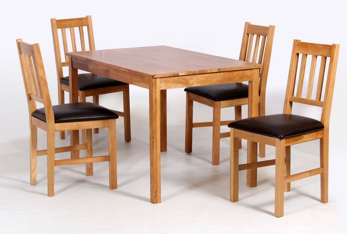 Hyde Solid Oak Wood Dining Table SET WITH Matching Chairs