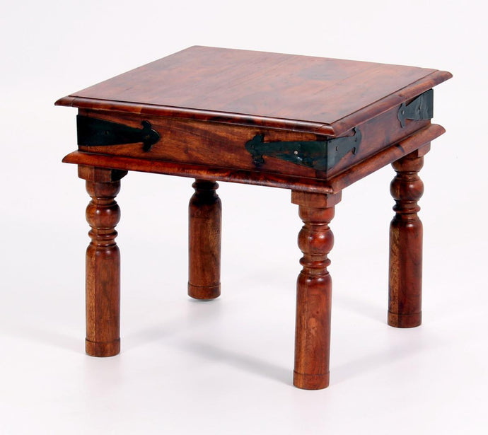 Jaipur Deco Lamp Small Side Coffee Table Solid Acacia Wood Rustic & Antique Look