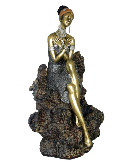 Golden African Lady on Coral Rock Beautiful Ornate Ornament - VEHome