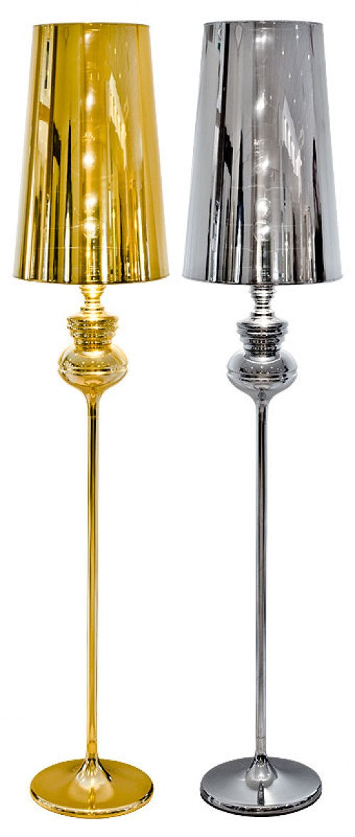 Phantom Floor Lamp In Gold Or Silver reflective Shade