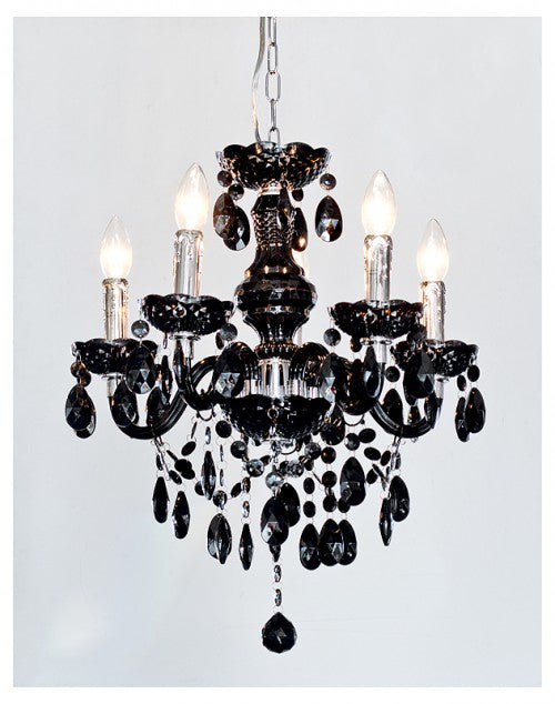 Henley 5 Lamp Chandelier In Black or Clear - VEHome