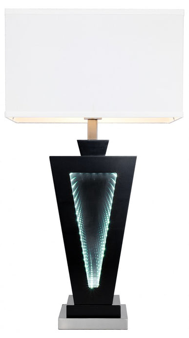 LED Time Tunnel Table Lamp With Infinity Light and White Fabric Shade - VEHome