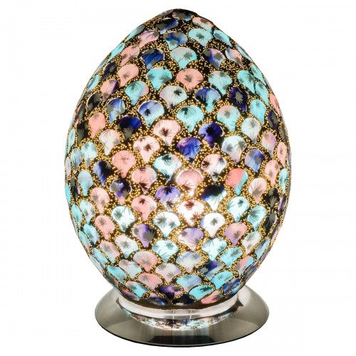 Mosaic Glass Egg Lamp - Blue & Pink Tile - VEHome