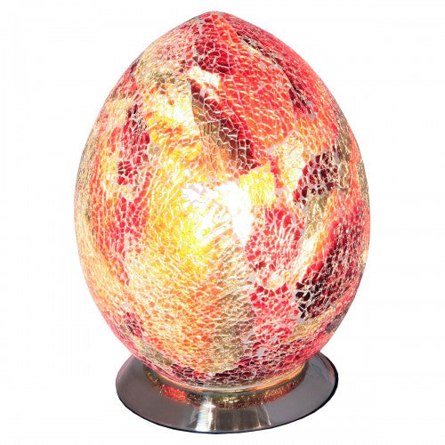 Medium Mosaic Glass Egg Lamp - Red and Orange Table Desk Mood lighting Lamp - VEHome