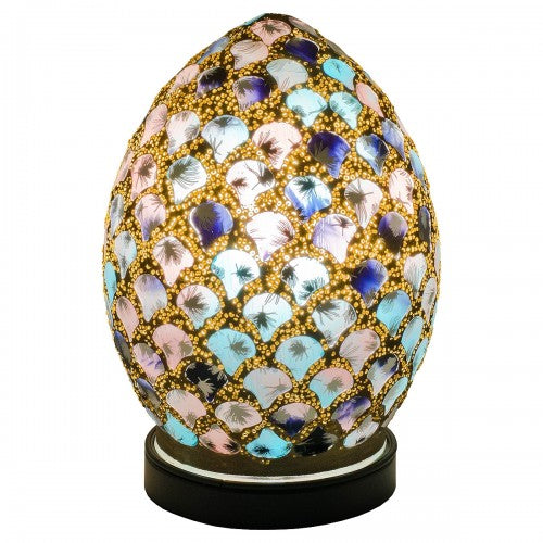 Mini Mosaic Glass Egg Lamp - Blue & Pink Tile - VEHome