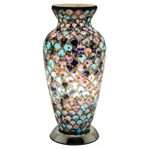 Mosaic Glass Vase Lamp - Blue & Pink Tile - VEHome