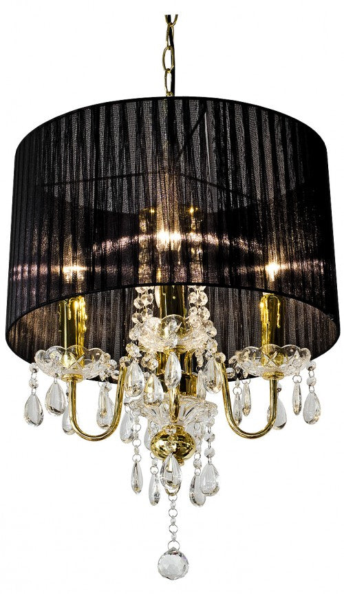Beaumont Four Light Gold Chandelier With Crystal Droplet Pendants - VEHome