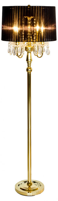Beaumont Four Light Gold Floor Lamp Black Shade and Gold Base - VEHome
