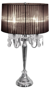 Beaumont Four Light Table Lamp Silver Base With Black Shade - VEHome