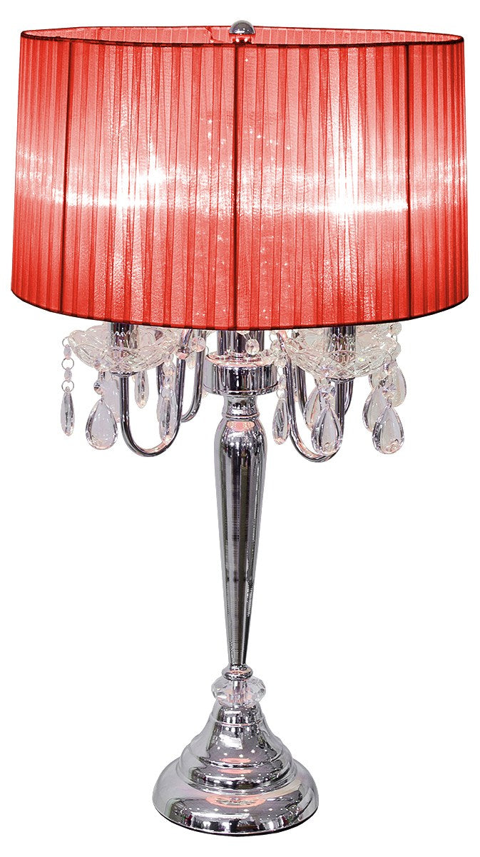 Beaumont Four Light Table Lamp Silver Base With Red Shade - VEHome