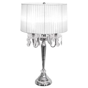 Beaumont Four Light Table Lamp Silver Base With White Shade - VEHome