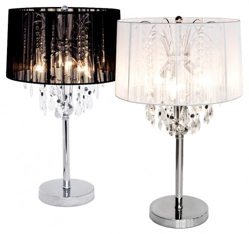 Spencer Three Light Table Lamp In Black or White - VEHome