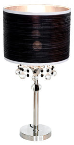 Caithness Bedside Table Desk Lamp Chrome Finish with Glass Droplets - VEHome