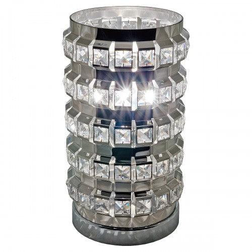 Silver Cylinder Touch Lamp Crystal Shaped - VEHome