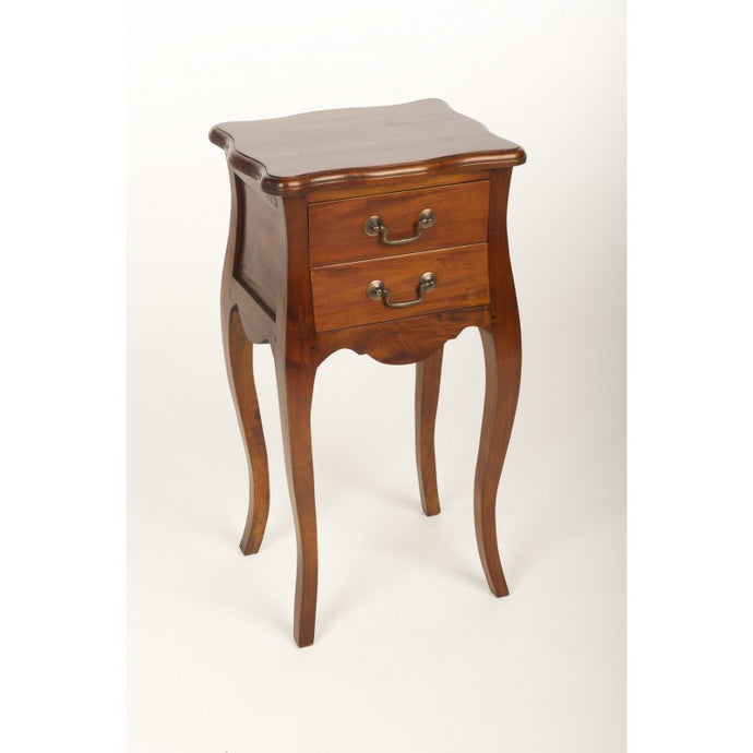Mahogany Village French Side Bedside Table Solid Mahogany Wood 2 Drawers - VEHome