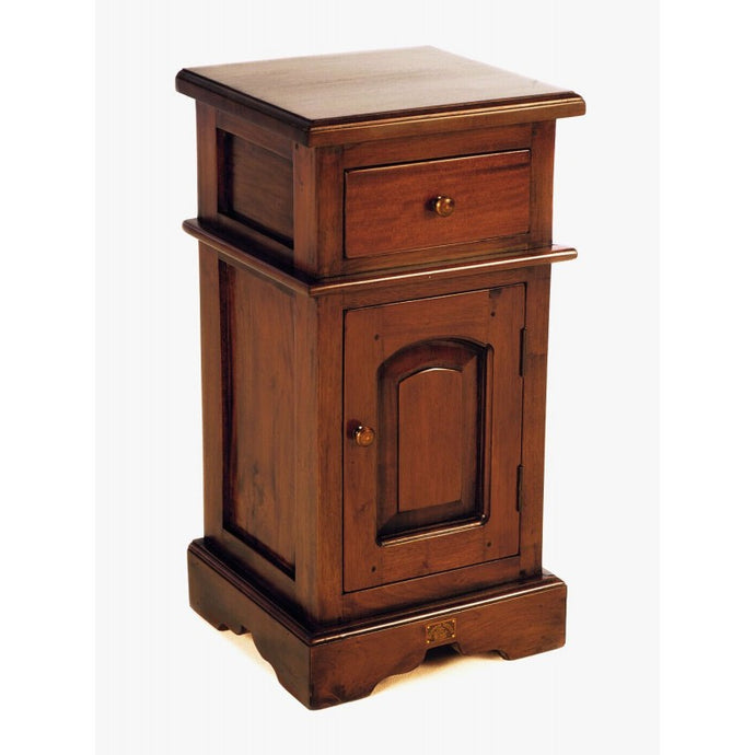 Mahogany Village Small Victorian Bedside Table 1 Drawer 1 Cupboard - VEHome