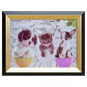 Dogs & Cat Tea Party Hologram Framed Picture 3D Image - VEHome