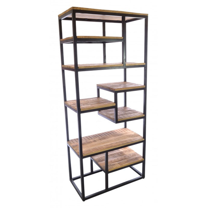 Old Empire Open Bookcase Solid Mango Wood And Steel - VEHome