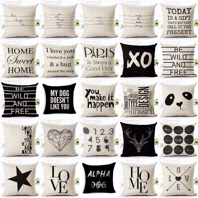 Letter Love  Home Cushion covers Cotton linen Black White pillow cover Sofa bed Nordic decorative pillow case almofadas 45x45cm - VEHome