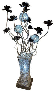 Silver & Black Lamp Floral Metal Wire LED Table Flower Vase Mood Light Lamp - VEHome