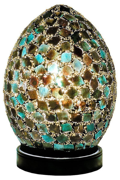 Mosaic Lamp Green Crackle Glass Mood Lighting Egg Lamp Peacock Green Finish - VEHome