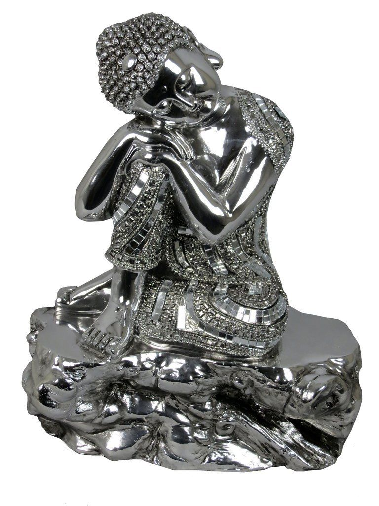 Silver Buddha Electroplated Buddha Resting on Knee Ornament - VEHome