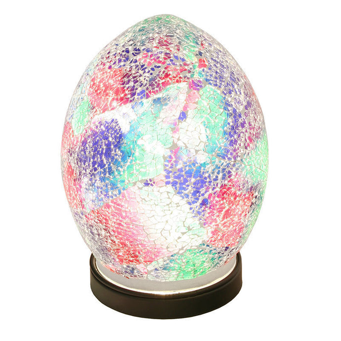 Mosaic Lamp Multicoloured Crackle Glass Mood Lighting Egg Lamp Finish - VEHome