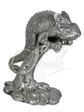 Load image into Gallery viewer, Silver Chameleon Lizard on Branch Ornate Ornament - VEHome