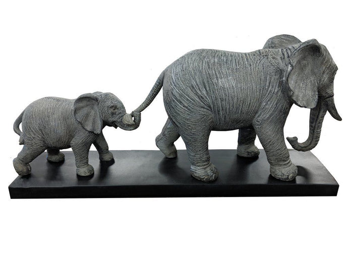 Elephant Follow the Leader Parent & Baby Elephant Calf Ornament Beautiful Ornate - VEHome